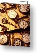 Reading Faces Greeting Cards - Pocket watches and old keys Greeting Card by Garry Gay
