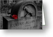 Edgar Greeting Cards - Poe Greeting Card by Wayne Higgs