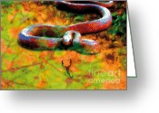 Jungle Snake Greeting Cards - Poetry-01 Greeting Card by Eakaluk Pataratrivijit