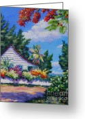 Bay Islands Painting Greeting Cards - Poinciana and Cottage Greeting Card by John Clark