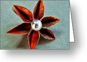 Silver Jewelry Greeting Cards - Poinsettia Flower  Greeting Card by Stan Mowatt
