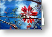 Light And Dark  Greeting Cards - Poinsettia  Pastora Greeting Card by Sarah Hornsby