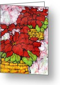Fine Art Batik Tapestries - Textiles Greeting Cards - Poinsettias Batik Greeting Card by Kristine Allphin