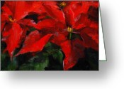 Floral Drawings Greeting Cards - Poinsettias Greeting Card by MaryAnn Cleary