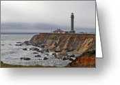 Misty Greeting Cards - Point Arena Lighthouse CA Greeting Card by Christine Till