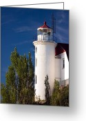 Signal Greeting Cards - Point Betsie Lighthouse Michigan Greeting Card by Adam Romanowicz