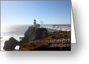 Light Houses Greeting Cards - Point Bonita Lighthouse in The Marin Headlands - 5D19700 Greeting Card by Wingsdomain Art and Photography