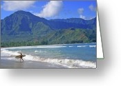 Hanalei Beach Greeting Cards - Point Break Greeting Card by Scott Mahon
