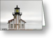 Misty Greeting Cards - Point Cabrillo Light Station - Mendocino CA Greeting Card by Christine Till
