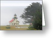 California Landscapes Greeting Cards - Point Cabrillo Light Station CA - Lighthouse in damp costal fog Greeting Card by Christine Till