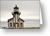 Fresnel Greeting Cards - Point Cabrillo Lighthouse California Greeting Card by Christine Till