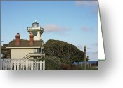 Fresnel Greeting Cards - Point Fermin Light - an elegant Victorian Style Lighthouse in CA Greeting Card by Christine Till