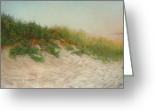 Dusk Pastels Greeting Cards - Point Judith Dunes Greeting Card by Barbara Groff