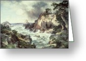 Black Cloud Greeting Cards - Point Lobos at Monterey in California Greeting Card by Thomas Moran
