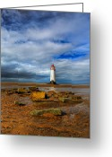 Lighthouse Greeting Cards - Point Of Ayr Beach Greeting Card by Adrian Evans