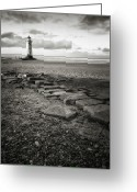 Guidance Greeting Cards - Point Of Ayre Lighthouse Greeting Card by Jon Baxter