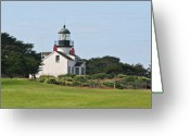 Maritime Greeting Cards - Point Pinos Light - Lighthouse on the golf course - Pacific Grove Monterey Central CA Greeting Card by Christine Till