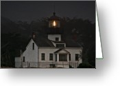 Nightshot Greeting Cards - Point Pinos Lighthouse CA Greeting Card by Christine Till