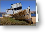 Fishing Boat Greeting Cards - Point Reyes beached boat Greeting Card by Garry Gay