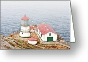 Lighthouse Tower Greeting Cards - Point Reyes Lighthouse at Point Reyes National Seashore CA Greeting Card by Christine Till