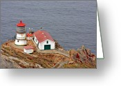 Lighthouse Tower Greeting Cards - Point Reyes Lighthouse CA Greeting Card by Christine Till