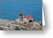 Light Houses Greeting Cards - Point Reyes Lighthouse in California 7D15974 Greeting Card by Wingsdomain Art and Photography