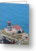 Light Houses Greeting Cards - Point Reyes Lighthouse in California 7D15975 Greeting Card by Wingsdomain Art and Photography