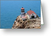 Light Houses Greeting Cards - Point Reyes Lighthouse in California 7D15988 Greeting Card by Wingsdomain Art and Photography