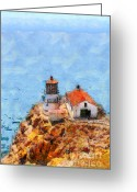 Light Houses Greeting Cards - Point Reyes Lighthouse in California . 7D15989 Greeting Card by Wingsdomain Art and Photography
