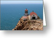 Light Houses Greeting Cards - Point Reyes Lighthouse in California 7D15994 Greeting Card by Wingsdomain Art and Photography