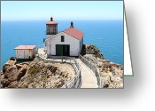 Light Houses Greeting Cards - Point Reyes Lighthouse in California 7D15996 Greeting Card by Wingsdomain Art and Photography