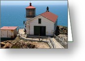 Light Houses Greeting Cards - Point Reyes Lighthouse in California 7D15997 Greeting Card by Wingsdomain Art and Photography