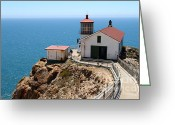 Light Houses Greeting Cards - Point Reyes Lighthouse in California 7D16001 Greeting Card by Wingsdomain Art and Photography