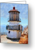 Light Houses Greeting Cards - Point Reyes Lighthouse in California . 7D16008 Greeting Card by Wingsdomain Art and Photography