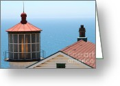 Light Houses Greeting Cards - Point Reyes Lighthouse in California 7D16013 Greeting Card by Wingsdomain Art and Photography