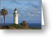 Lighthouse Tower Greeting Cards - Point Vicente Lighthouse on the cliffs of Palos Verdes California Greeting Card by Christine Till