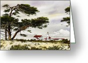 Pacific Northwest Lighthouse Framed Print Greeting Cards - Point Wilson Lighthouse Shore Greeting Card by James Williamson