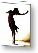 Red Dress Painting Greeting Cards - Poise in Silhouette Greeting Card by Richard Young