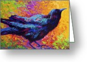 Crow Greeting Cards - Poised - Crow Greeting Card by Marion Rose