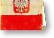 Retro Pastels Greeting Cards - Poland flag Greeting Card by Setsiri Silapasuwanchai