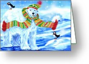 Puffin Mixed Media Greeting Cards - Polar Bear Christmas Greeting Card by Linda Crockett