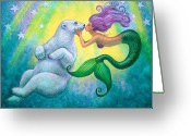 Polar Bear Greeting Cards - Polar Bear Kiss Greeting Card by Sue Halstenberg