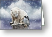 Polar Bear Greeting Cards - Polar Bear Meets Penguin Greeting Card by Ethiriel  Photography