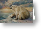 Winter Painting Greeting Cards - Polar Bear rests on the ice. Greeting Card by Svitozar Nenyuk