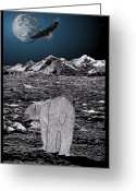 Eagle Prints Greeting Cards - Polar Bear with Eagle Spirit Greeting Card by Rose Borisow