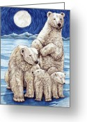 Protector Drawings Greeting Cards - Polar Family Greeting Card by Lonnie Tapia