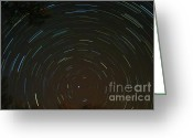 Startrail Greeting Cards - Polaris Greeting Card by Stephen Whisman