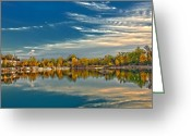 Klondike Greeting Cards - Polarizing Autumn Lake Greeting Card by Bill Tiepelman