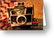 Slr Greeting Cards - Polaroid Land Camera Model 100 . Painterly . 7D13289 Greeting Card by Wingsdomain Art and Photography
