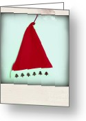 Nails Greeting Cards - Polaroid of a Christmas hat Greeting Card by Bernard Jaubert